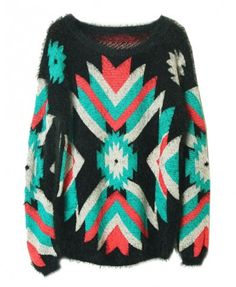 Contrast Color Geometric Patterns Mohair Pullover