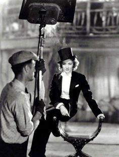 """""""I am, at heart, a gentleman."""" -Marlene Dietrich (photographed on the set of Morocco, 1930)"""
