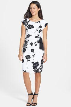 Taylor Taylor Dresses Bow Detail Floral Print Stretch Sheath Dress   Nordstrom Rack