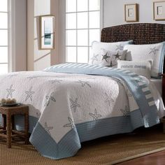 Beach View Reversible Quilt in Sterling Blue - BedBathandBeyond.com