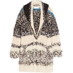 Chloé Oversized chunky-knit cotton-blend cardigan (98.095 RUB) ❤ liked on Polyvore featuring tops, cardigans, jackets, cream, oversized cream cardigan, cream cardigan, chloe top, multi color cardigan and chunky knit cardigan
