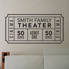 Personalized Family Movie Theater Ticket - Dana Decals - 1