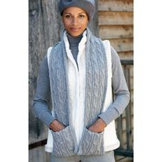 Mary Maxim - Free Cabled Scarf with Pockets Knit Pattern - Free Patterns - Patterns & Books