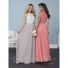 (IV3161) Amazing Lace & Chiffon Halter?Choker Style Bridesmaid Dress w/ Low Keyhole Back & Flowing Skirt.