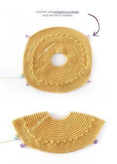Crochet and Fabric Dress - Prehistoric Dress [ FREE Pattern & Tutorial ] Hdc Crochet, Crochet Cap, Crochet Stitches, Free Crochet, Crochet Patterns, Dress Patterns, Half Double Crochet, Single Crochet, Bobble Stitch