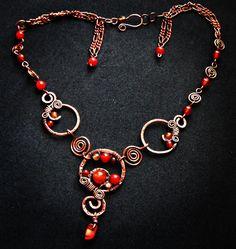 Carnelian wire wrapped copper necklace by TemptationJewelryArt on Etsy