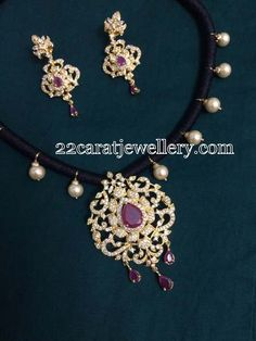 Jewellery Designs: 1 Gram Gold Black Beads set