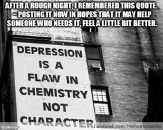 depression is a flaw in chemistry...