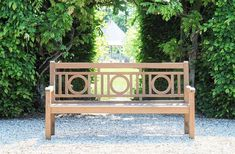 "En teck ou en bois peint, le banc ""London"" est un modèle typique inspiré du style anglais du XIXe siecle /// In teak or in painted wood, the bench ""London"" is a typical pattern inspired by the English style of the nineteenth century. Garden Bench Plans, Teak Garden Bench, Teak Garden Furniture, Outdoor Garden Bench, Outdoor Furniture, Outdoor Decor, Garden Gates And Fencing, Landscape Elements, London Garden"
