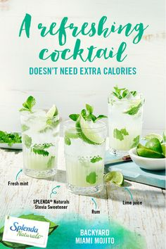 Nothing says refreshment like an ice cold drink on a warm summer day. If you're planning an afternoon on the patio with friends, whip up some Backyard Miami Mojitos. It's sweetened naturally with the great taste of SPLENDA® Naturals Stevia Sweetener so you can focus on sweet moments, not calories. Try one today!