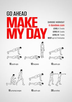Make My Day workout. Prison Workout, Home Workout Men, Gym Workout Tips, Easy Workouts, At Home Workouts, Cardio Workouts, Workout Routines, Fitness Workouts, Workout Programs For Women