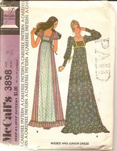 1973 Womens Hippy Dress Pattern - Vintage McCalls 3898 - Size 10 Bust 32 1\/2. $6.00, via Etsy.