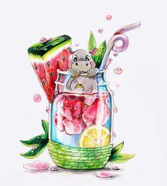 Realistic Drawings, Art Drawings Sketches, Cute Drawings, Food Art Painting, Chibi Kawaii, Baby Animal Drawings, Color Pencil Art, Arte Pop, Marker Art