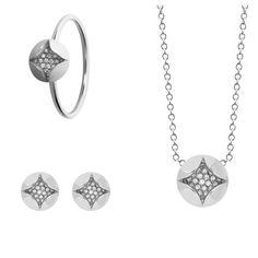 #MelissaKayeJewelry Amanda #ring #necklace #earring in #18k white #gold with #diamonds #jewelry #finejewelry #MKJHoliday #whitegold #fashion #style