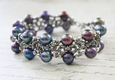 Byzantine Bracelet with Twilight Colored Pearls by VioletsInEden