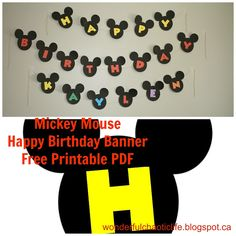 FREE Mickey Mouse Birthday Banner printable!                              …