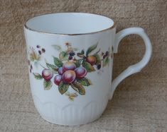 Crown Trent Fruit Mug or Coffee Cup, Vintage Staffordshire England Bone China by MendozamVintage on Etsy