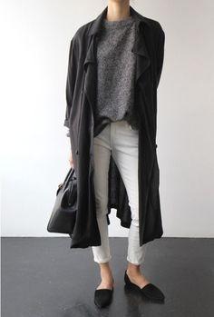 coat + white pants