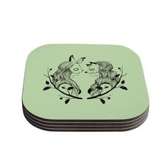 Kess InHouse Jaidyn Erickson 'Foxybuns' Coasters (Set of 4) (Foxybuns), Green (Wood)