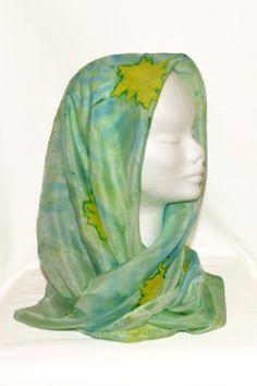 Батик. Шелковый шарф . Цвет голубой желтый от EleganceCollections, €32.99