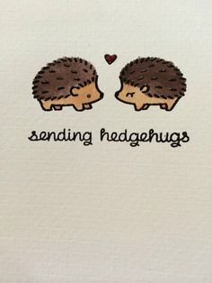 Set of 4 hand made note cards with envelopes 4 x 5 inches Designs: Black Embossed Hedgehogs on hand painted watercolor card stock Cute Baby Animals, Animals And Pets, Funny Animals, Cute Hedgehog, Cute Drawings, Cute Art, Note Cards, Cute Babies, Cute Pictures
