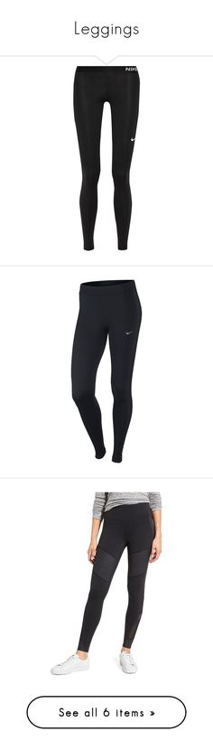 """""""Leggings"""" by mary-is-a-monkey ❤ liked on Polyvore featuring activewear, activewear pants, pants, leggings, bottoms, calça, black, nike, stretch jersey and nike activewear pants"""