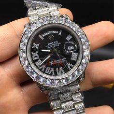 Day-date Iced Out Black Face Roman Numeral Luxury Watch