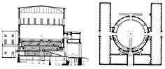 Gunnar Asplund.   Stockholm City Library.  Section and plan of the first floor