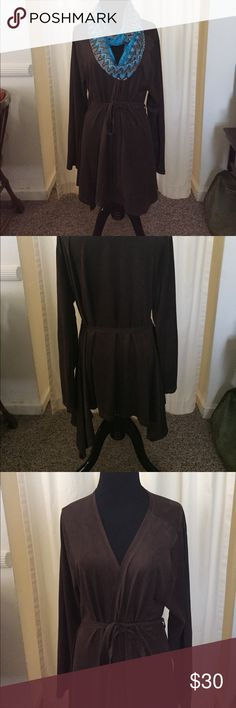 Brown suede-like jacket Brown suede-like belted, draped jacket. BCBGMaxAzria Jackets & Coats