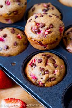 Skinny Strawberry Chocolate Chip Muffins - Lots of good healthy muffin recipes on this site