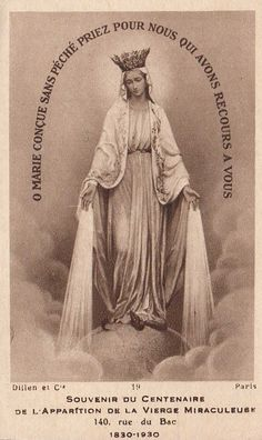 """allaboutmary: """" A French holy card from 1930, the centenary of the apparition of Our Lady of the Miraculous Medal in Rue du Bac, Paris. """""""