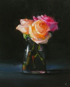 Painting Still Life, Still Life Art, Oil Painting Flowers, Light Painting, Pictures To Paint, Art Pictures, Black Background Painting, Three Roses, Rose Art