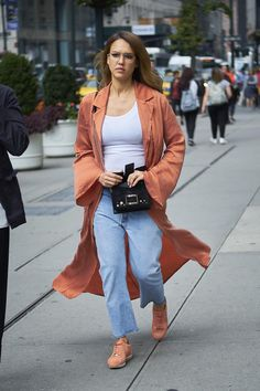 Jessica Alba wearing Roger Vivier Viv Micro Star Studs Bag, Nike Internationalist Sneakers and Nike Classic Cortez Premium A.l.c. Sneakers
