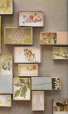 Vintage Christmas Cards and Shadowbox Ornaments