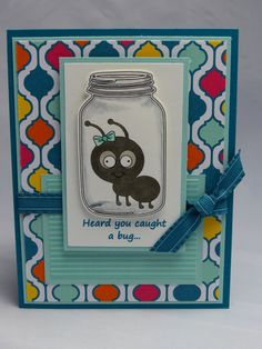 Included is one handmade, get well card featuring a hand-colored bug in a jar and the words Heard you caught a bug... The base of the card is