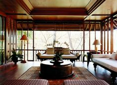 Como Shambhala Estate Bali- oriental and wood aesthetic guest living room interior