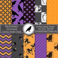 Free Halloween Animals Digital Papers Pack