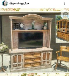 Before and after . Chalk painted furniture.  Hutch turned into rustic TV entertainment unit. Follow IG @diy.vintage.luv
