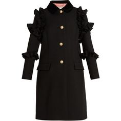 Gucci Ruffle-trimmed single-breasted wool coat ($3,600) ❤ liked on Polyvore featuring outerwear, coats, black, woolen coat, single breasted wool coat, ruffle wool coat, single-breasted trench coats and gucci coat