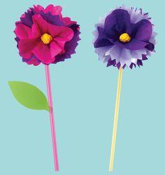 tissue paper drinking straw flowers