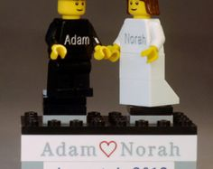 Wedding Cake Topper Personalized onto LEGO® Bricks  Lego Wedding, Wedding Cakes, Personalized Wedding Cake Toppers, Lego Brick, Handmade Gifts, Diy, Bricks, Nerdy, Wedding Ideas