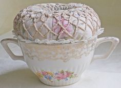 Hand Crafted Pin Cushion Handmade Repurposed Upcycled Sugar Bowl Doily Buttons #Handcrafted