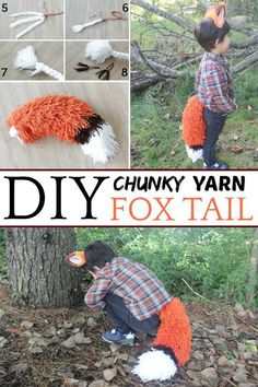 Best yarn fox tail tutorial ever! My kids loved their yarn fox tail, it's just so cute. Easy DIY fox tail for Halloween or just for fun! Diy Costumes, Halloween Costumes For Kids, Halloween Crafts, Kids Fox Costume, Food Costumes, Halloween Dress, Halloween 2019, Halloween Stuff, Holiday Crafts