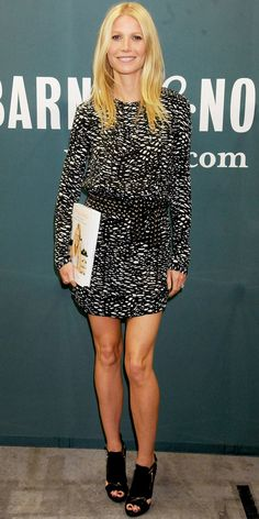 The author signed copies of Its All Good in a black and white Isabel Marant dress and peep-toe Michael Kors booties.