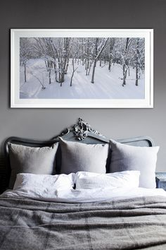 "Sneak Peek: Alice Flynn. ""White white white is always my mantra, with carefully collected layers over the years, usually in a grey/blue colour way. Phil Noler, a Penny Farthing photographer, shot the image above the bed in Japan. The tones of grey and white are a balance I love."" #sneakpeek"