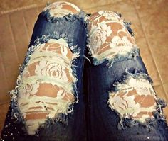 ripped jeans and lace patches