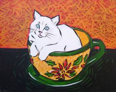 Cat in the Cup by Dip 'n Dab Dip And Dab, Dips, Cat, Wall Art, Studio, Artist, Shop, Painting, Sauces