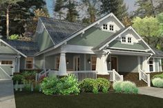 Ive been obsessed with craftsman style homes for many years. Our craftsman style home design idea focuses on the distinctive front porch wi. Craftsman Farmhouse, Craftsman Exterior, Craftsman Style House Plans, House Paint Exterior, Craftsman Bungalows, Farmhouse Plans, Craftsman Homes, Bungalow Homes Plans, Farmhouse Style
