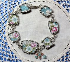 Broken China Jewelry, Bracelet, Pink and Blue Floral China, Adjustable
