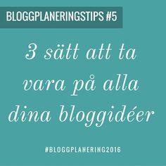 Alla dessa bloggidéer som poppar upp som små popkorn i en kastrull. Vad ska man göra av dem?  Här är tre tips för hur du snabbt tar vara på alla idéer: 1) Anteckningsblock 2) Telefonen - använd gärna Siri om du har henne 3) Evernote - skapa en bloggidé mapp och samla idéer där.  BONUS TIPS:  4) Skriv ett utkast i din blogg spara det och skriv klart sen 5) Använd IFTTT (IfThisTheThat) note för att snabbt skriva ner och spara i ett excel blad med alla idéer samlade. (Sparas till ett Google…